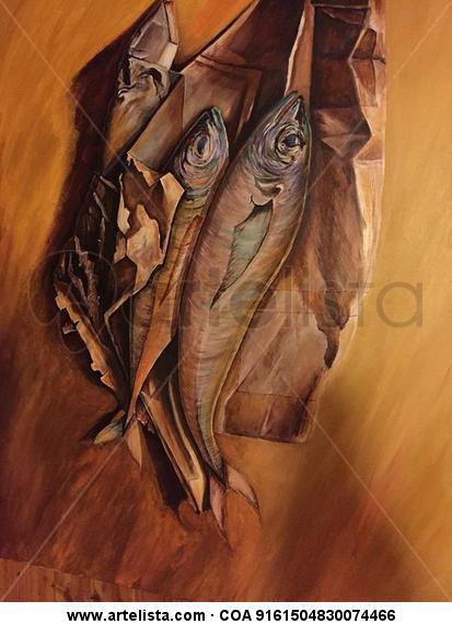pescados en papel Acrílico Animales Lienzo