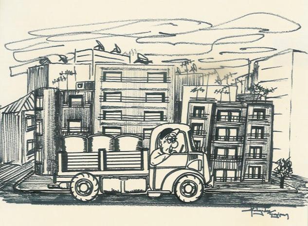 sketch / small lorry Tinta Papel Bodegones