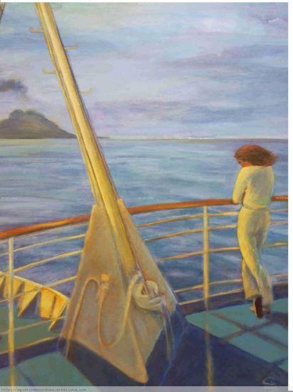 Stromboli y mujer en azul Lienzo Paisaje Media Mixta