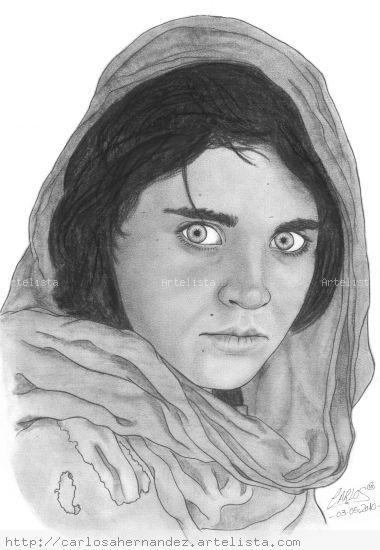 Sharbat Gula - National Geographic Grafito Papel Retrato