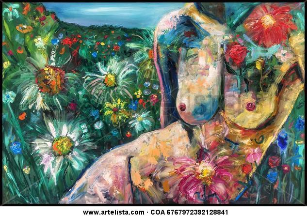 Madre Naturaleza Floral Tabla Óleo