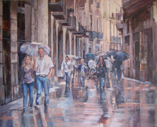 Paseando bajo la  lluvia Lienzo Acrílico Paisaje