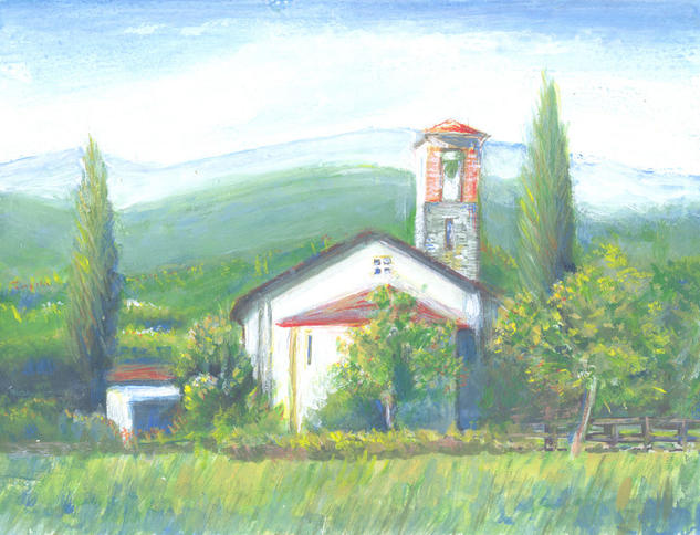 Small church Paisaje Acrílico Tabla