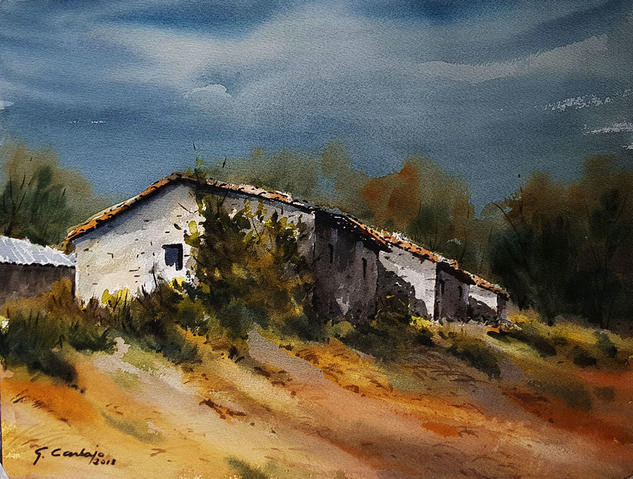 casa rural en ceñal Landscaping Watercolour Paper