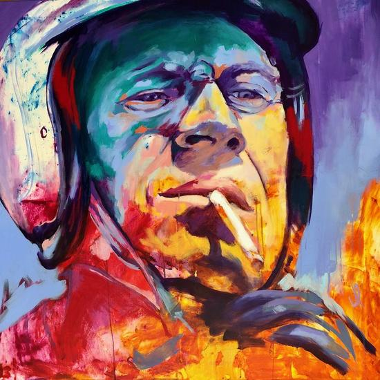 Steve McQueen Portrait - Acrylic on Canvas 90x90cm Retrato Acrílico Lienzo