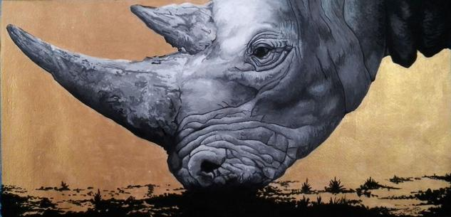 Rinoceronte dorado Papel Gouache Animales