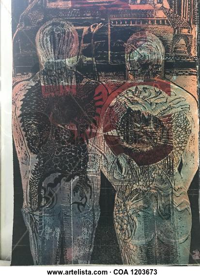 almas gemelas serie  Linograbado