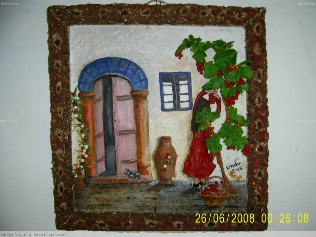 mujer y uvas Óleo Lienzo Paisaje