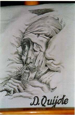 D.Quijote Pintura En Seda Textil