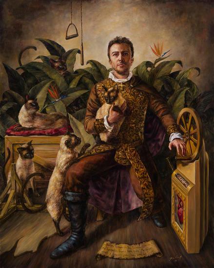 Autoretrato con Gatos Canvas Oil Figure Painting