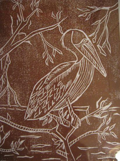 Pelicano Pardo Linograbado