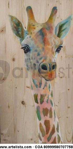Jirafa Panel Oil Animals