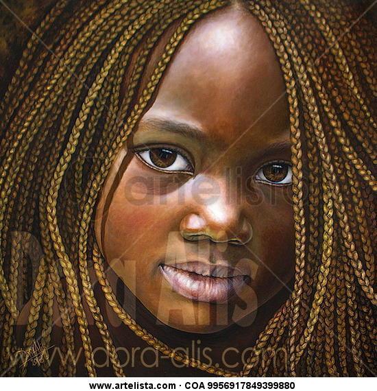 Niña de África 88 Lienzo Óleo Retrato