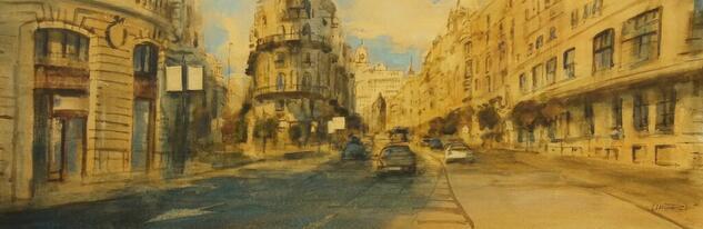 Gran Via Madrid. Paisaje Acuarela Papel