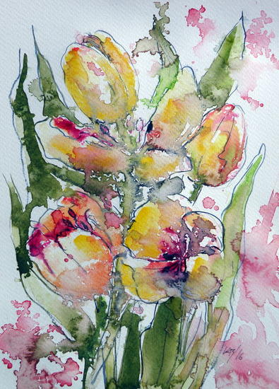 Tulips Acuarela Floral Papel