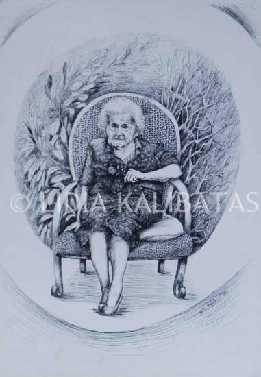 LA VIEJITA DE LAS PLANTAS  (LIDIA KALIBATAS) Tinta