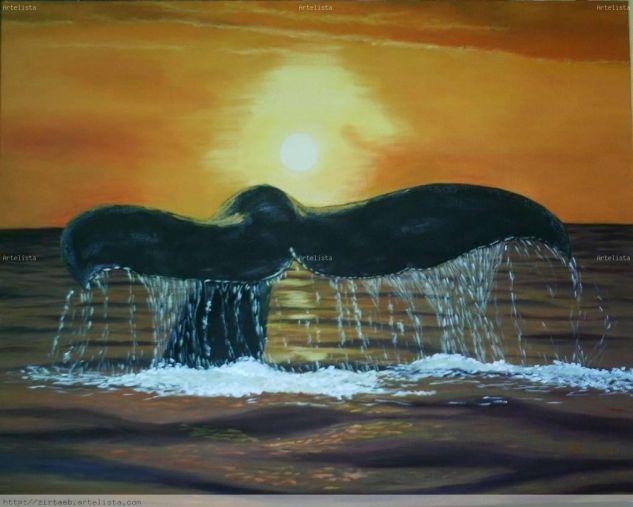 Ballena en el atardecer Lienzo Óleo Marina