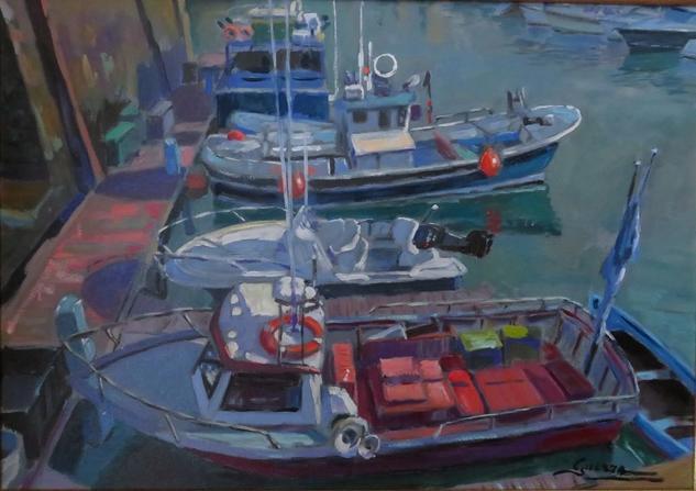 Puerto de Plentzia. Marine Painting Oil Canvas