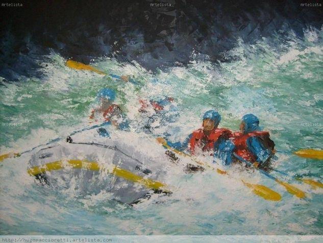 Rafting por el azul Óleo Tabla Paisaje