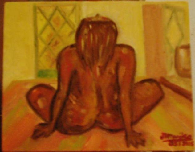 Desnuda de espaldas en mi cama Óleo Lienzo