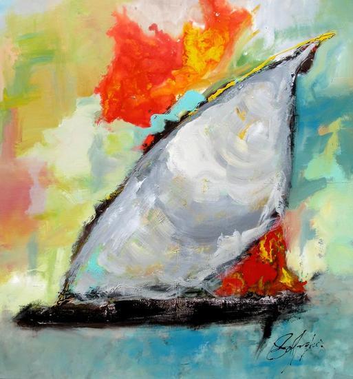 Navegando en el atardecer Tela Otros Marina