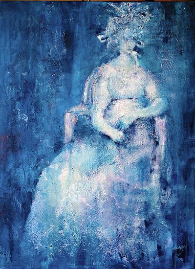 Dama en azul Canvas Mixed media Figure Painting