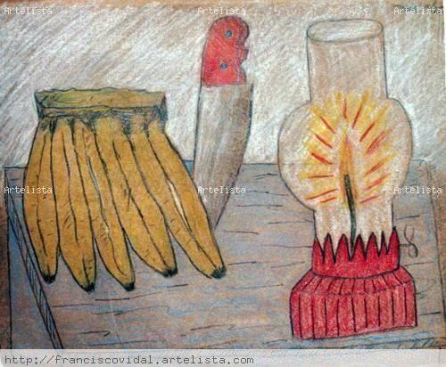 Bodegon con bananas cuchillo y lampara No3 Carboncillo