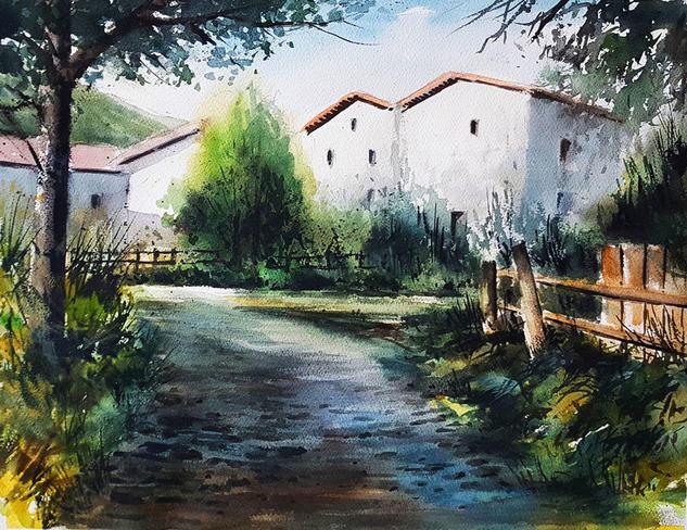 camino en sombra en maraña Paisaje Acuarela Papel