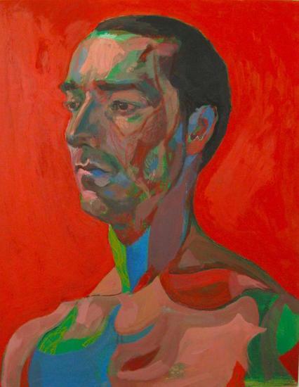 La Calma en Rojo Tabla Acrílico Retrato
