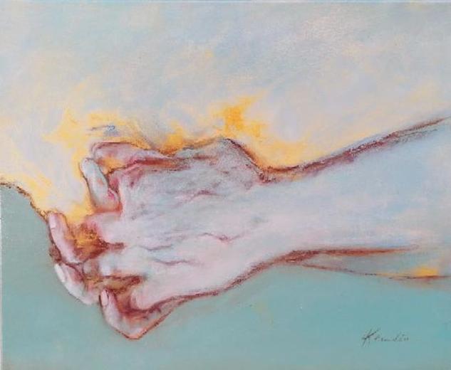 """Sobre la huella de tu mano, nunca te digo adiós""  Figura Media Mixta Lienzo"