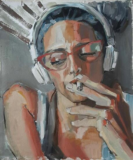 Smoker Retrato Óleo Cartulina