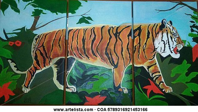 Triptico Tigre Lienzo Acrílico Animales