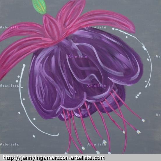 Fuchsia Floral Acrílico Lienzo