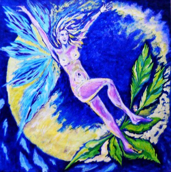 Mujer en la luna. Papel Acrílico Desnudos