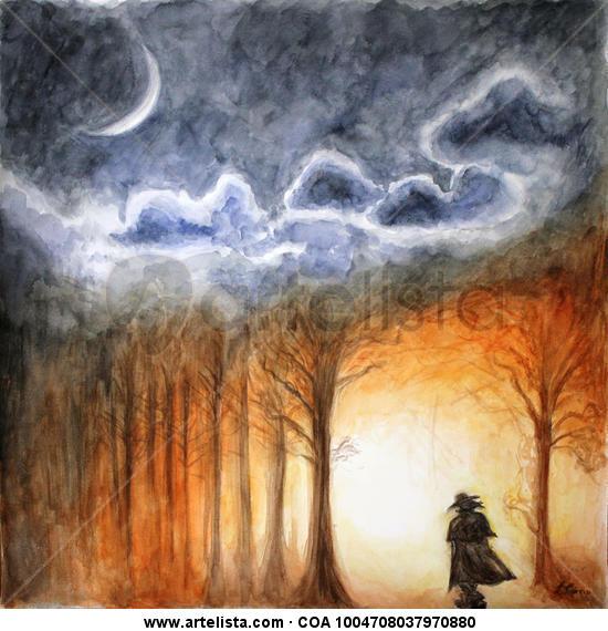 La lluna i l'errant Card Watercolour Landscaping