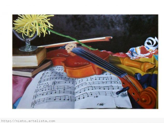 bodegon musical 5b Óleo Lienzo Paisaje