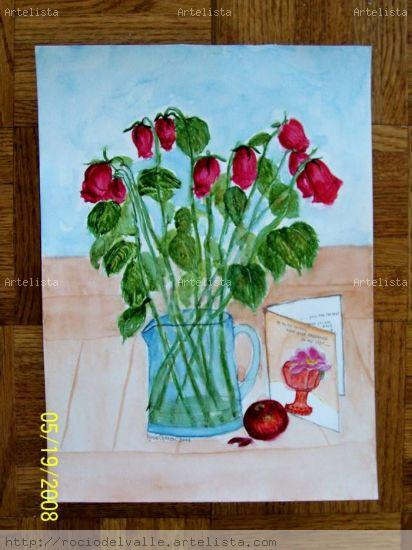 Old roses and a card Papel Acuarela Floral