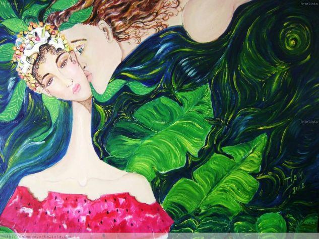 El beso y la sandìa Acrílico Lienzo Figura