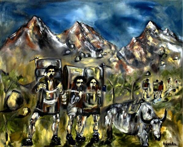 Sherpas y yaks Deportes Lienzo Óleo