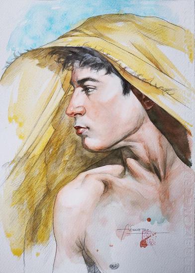 Watercolor- Young man#201204 Retrato Acuarela Papel