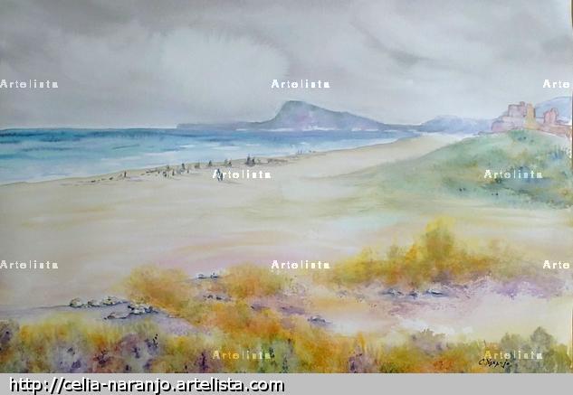 Playa de Daimús. Valencia Acuarela Papel Paisaje