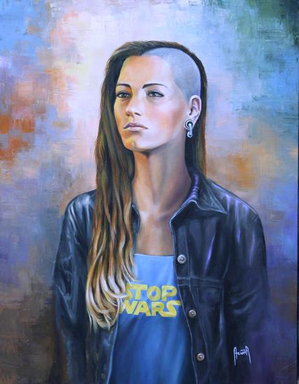 Paren la Guerra / Stop Wars Figure Painting Oil Canvas