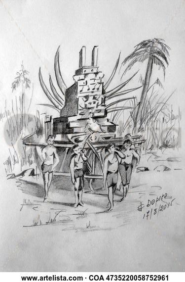 Ilustración Libro Vuelta al Mundo en 80 Días/Ilustración Libro Volta ao Mundo en 80 Días/Illustration of the Book Around the World In 80 Days (5/5) Lápiz