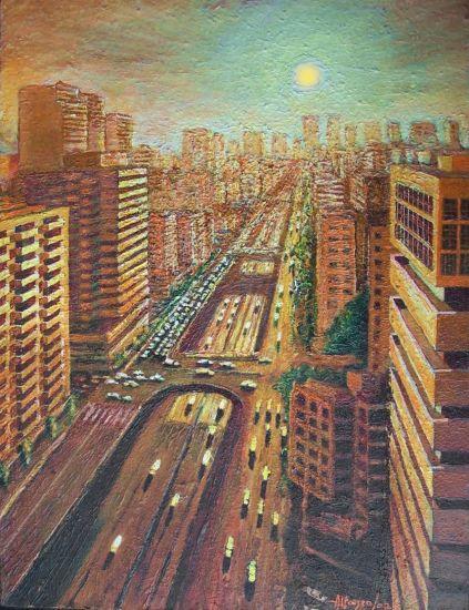 ATARDECER EN AV, LIBERTADOR (1987) Paisaje Tabla Acrílico