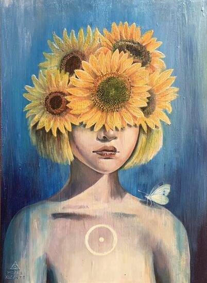 Sunflower Portrait Acrylic Panel