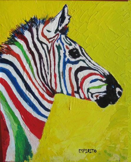 Zebra of Colors Lienzo Acrílico Animales