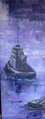 mar morado Panel Oil Marine Painting