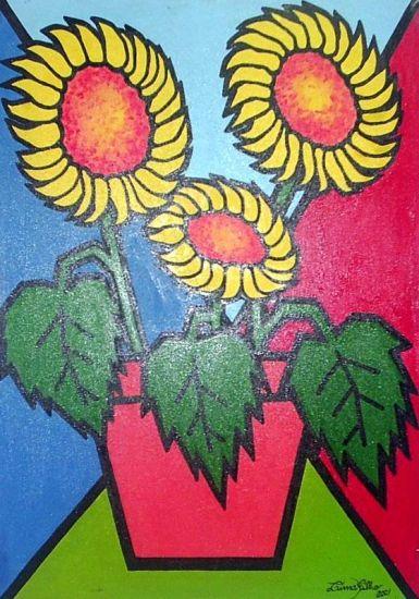 Vaso de girassóis Acrílico Tela Floral