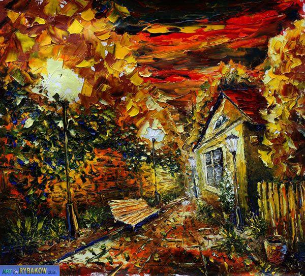 painting Evening 180 - Landscape oil painting-Valery Rybakow Óleo Lienzo Paisaje
