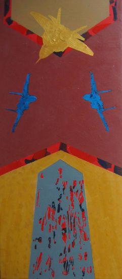 De la serie Quimeras. Encrucijada con ave oro. Acrilico-lienzo, 90 x 40. 2007